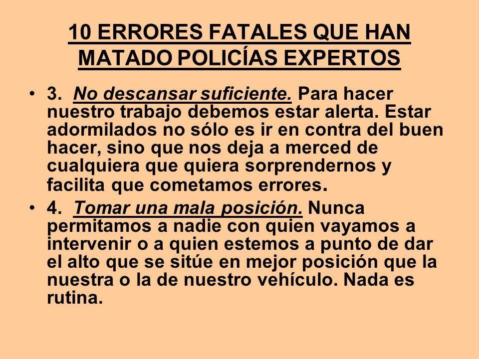 10 ERRORES FATALES QUE HAN MATADO POLICÍAS EXPERTOS 3. No descansar suficiente. Para hacer nuestro trabajo debemos estar alerta. Estar adormilados no