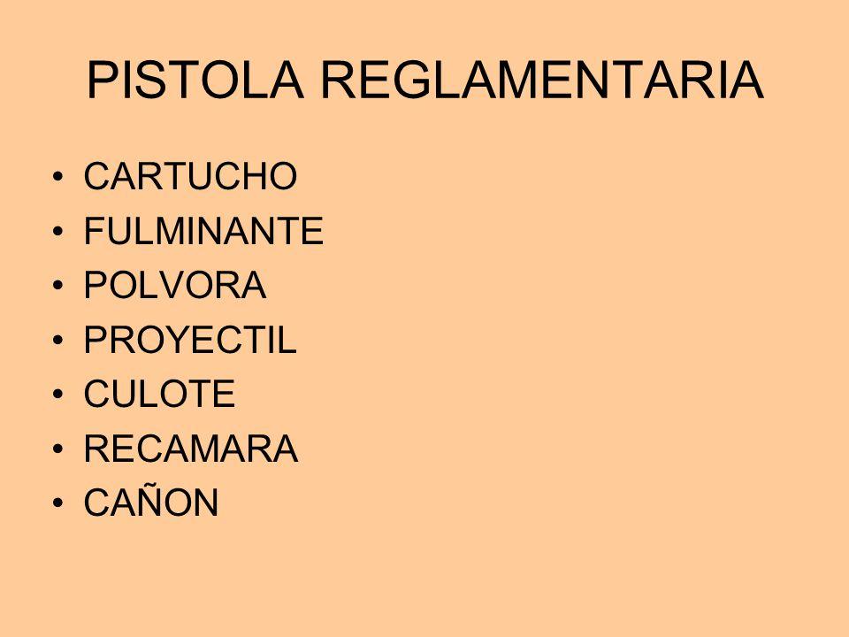 PISTOLA REGLAMENTARIA CARTUCHO FULMINANTE POLVORA PROYECTIL CULOTE RECAMARA CAÑON