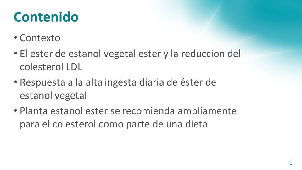 Contenido Contexto El ester de estanol vegetal ester y la reduccion del colesterol LDL Respuesta a la alta ingesta diaria de éster de estanol vegetal Planta estanol ester se recomienda ampliamente para el colesterol como parte de una dieta 1