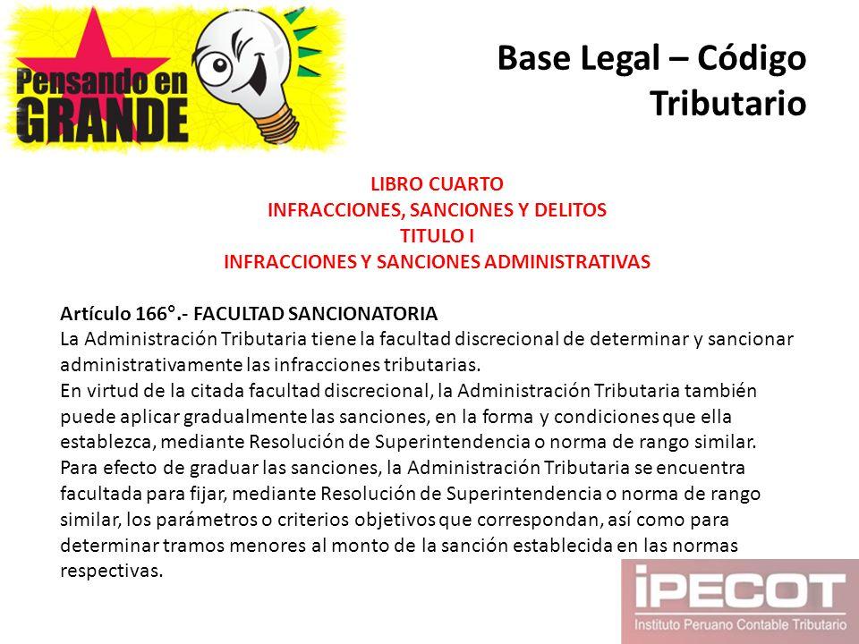Base Legal – Código Tributario LIBRO CUARTO INFRACCIONES, SANCIONES Y DELITOS TITULO I INFRACCIONES Y SANCIONES ADMINISTRATIVAS Artículo 166°.- FACULT