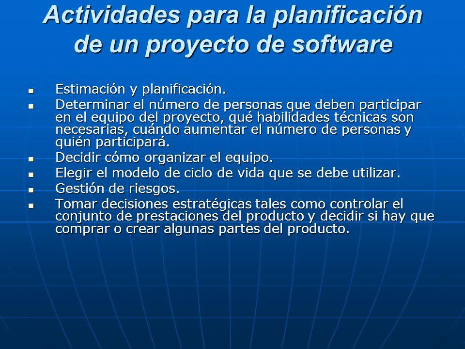 Actividades para la planificación de un proyecto de software Estimación y planificación. Estimación y planificación. Determinar el número de personas