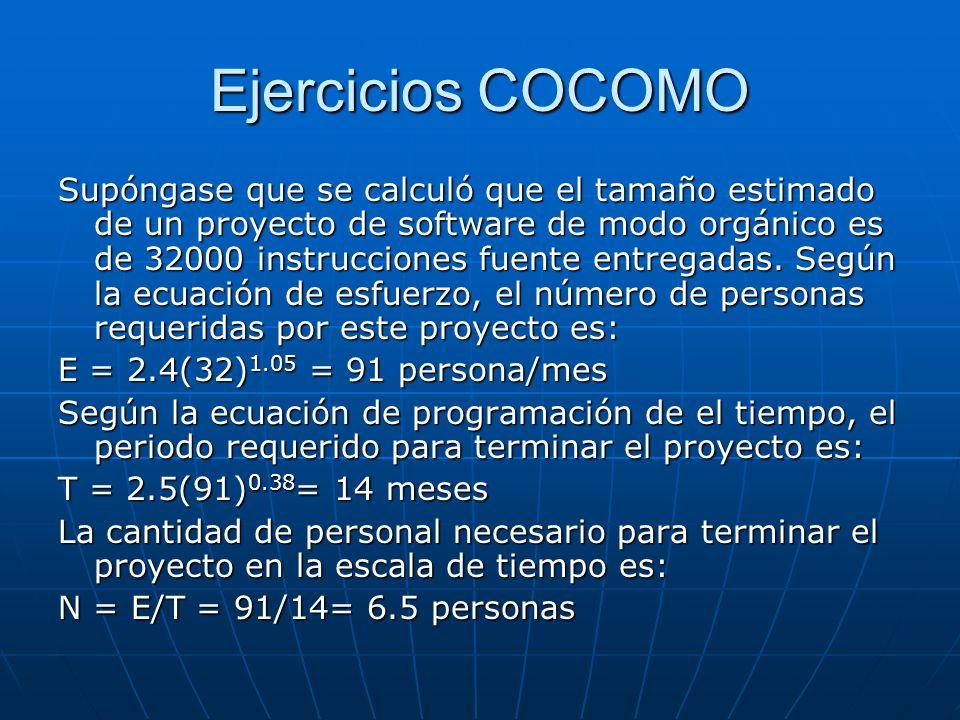 Ejercicios COCOMO Supóngase que se calculó que el tamaño estimado de un proyecto de software de modo orgánico es de 32000 instrucciones fuente entrega