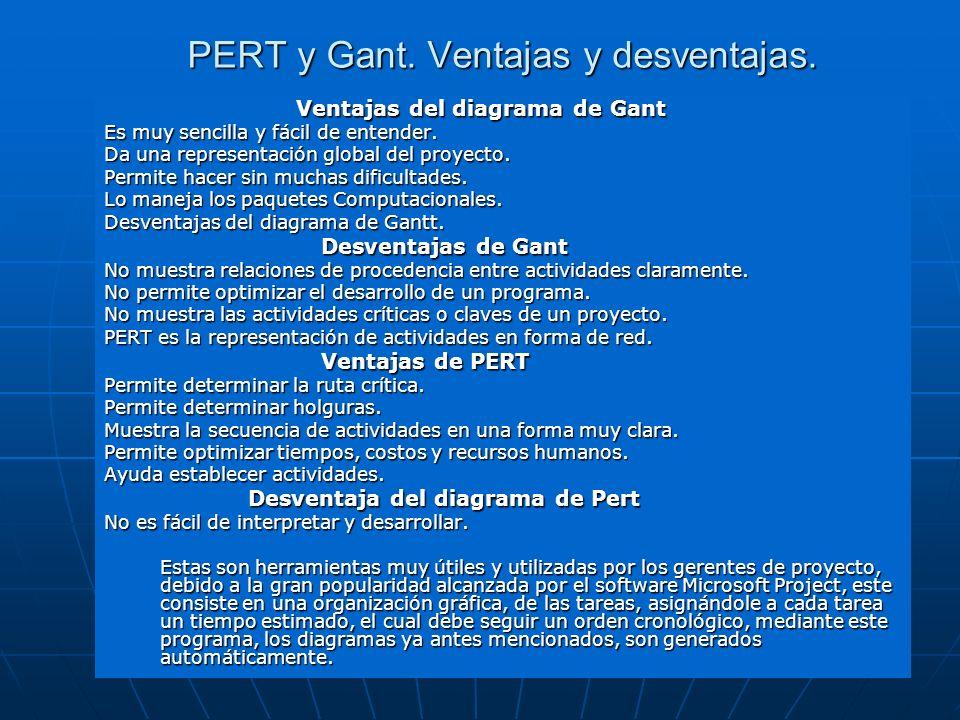 PERT y Gant. Ventajas y desventajas. Ventajas del diagrama de Gant Es muy sencilla y fácil de entender. Da una representación global del proyecto. Per