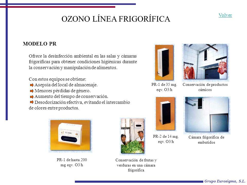 OZONO LÍNEA FRIGORÍFICA Ofrece la desinfección ambiental en las salas y cámaras frigoríficas para obtener condiciones higiénicas durante la conservaci