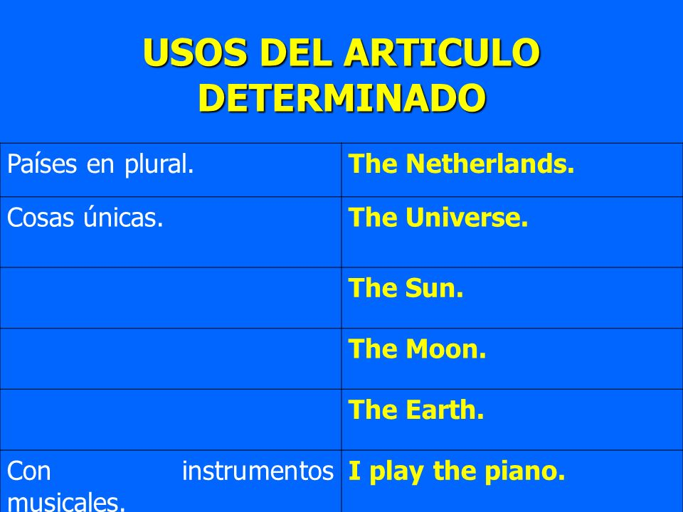 Países en plural.The Netherlands. Cosas únicas.The Universe. The Sun. The Moon. The Earth. Con instrumentos musicales. I play the piano. USOS DEL ARTI