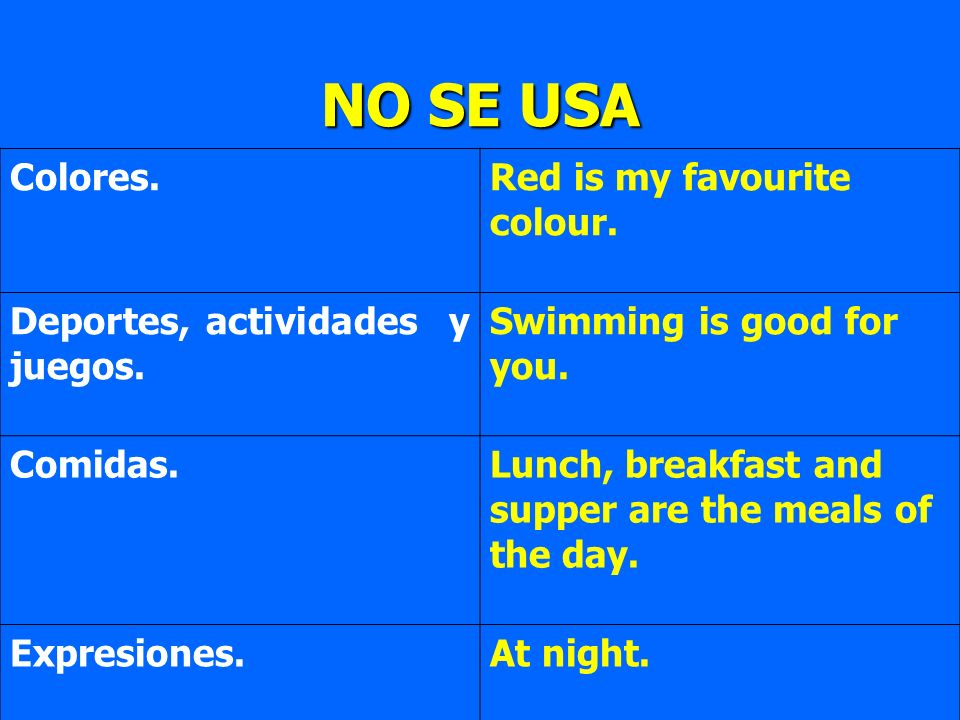 Colores.Red is my favourite colour. Deportes, actividades y juegos. Swimming is good for you. Comidas.Lunch, breakfast and supper are the meals of the
