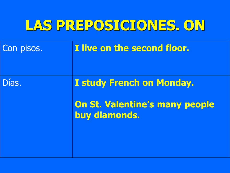 Con pisos.I live on the second floor. Días.I study French on Monday. On St. Valentines many people buy diamonds. LAS PREPOSICIONES. ON
