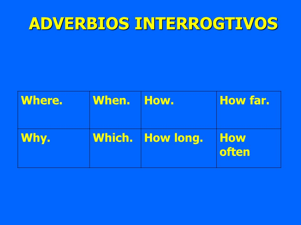 Where.When.How.How far. Why.Which.How long.How often ADVERBIOS INTERROGTIVOS ADVERBIOS INTERROGTIVOS