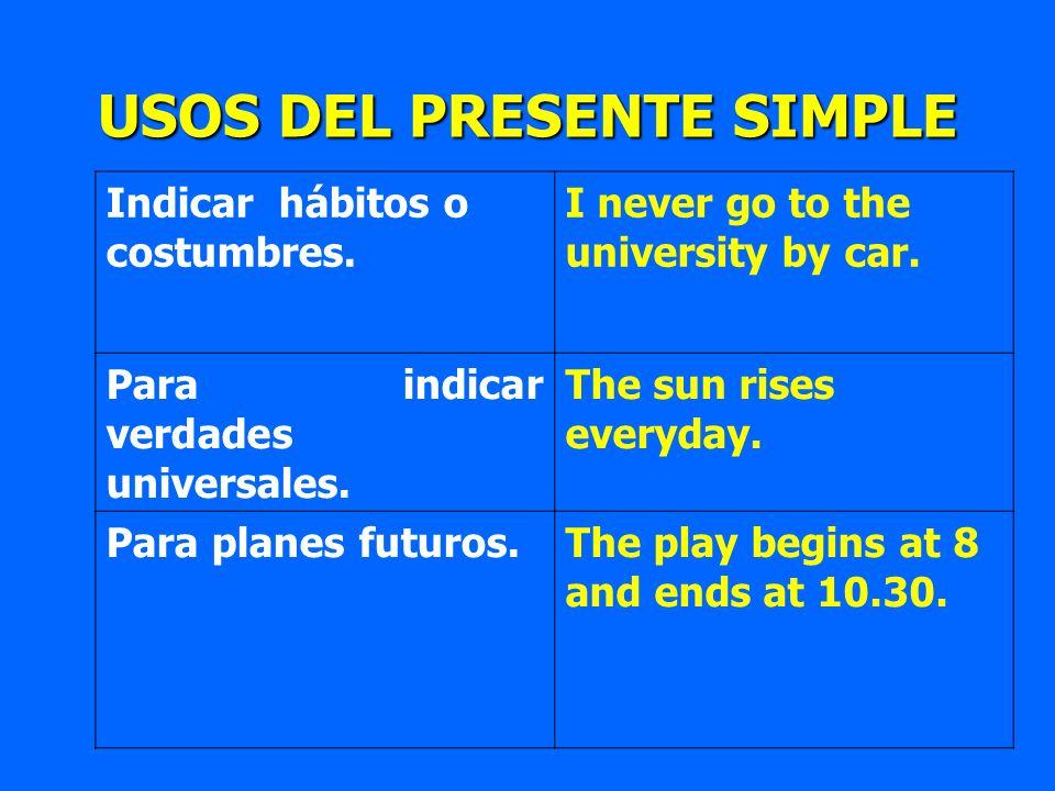 Indicar hábitos o costumbres. I never go to the university by car. Para indicar verdades universales. The sun rises everyday. Para planes futuros.The