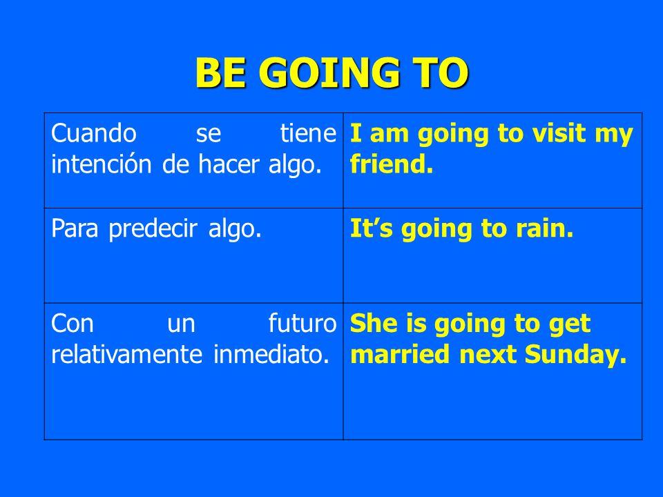 BE GOING TO Cuando se tiene intención de hacer algo. I am going to visit my friend. Para predecir algo.Its going to rain. Con un futuro relativamente