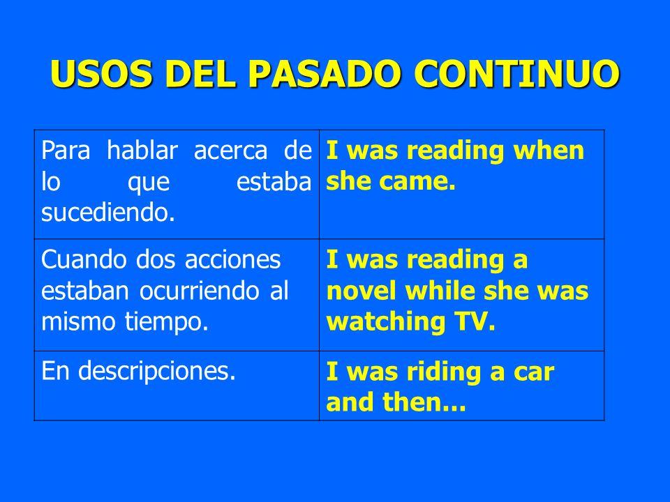 Para hablar acerca de lo que estaba sucediendo. I was reading when she came. Cuando dos acciones estaban ocurriendo al mismo tiempo. I was reading a n