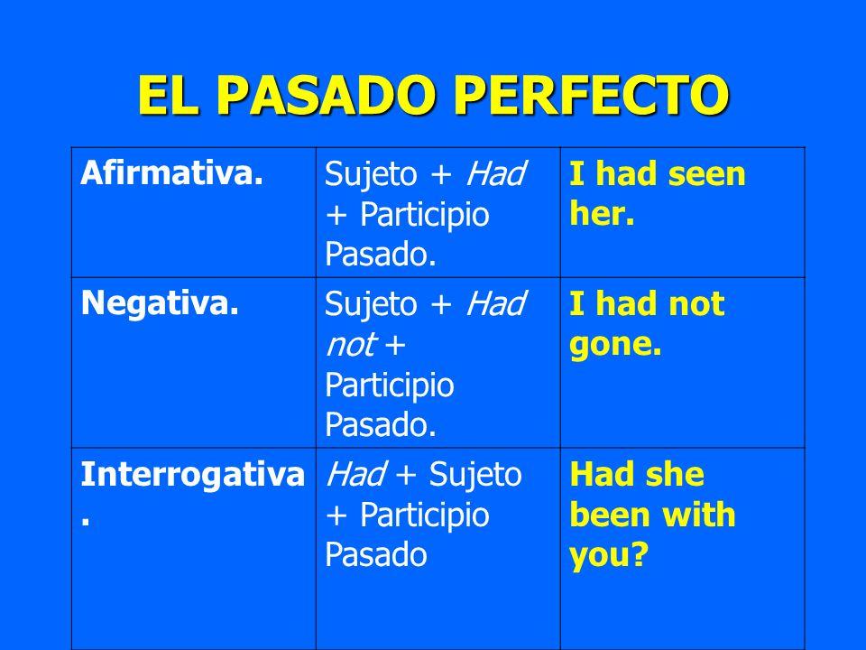 EL PASADO PERFECTO Afirmativa.Sujeto + Had + Participio Pasado. I had seen her. Negativa.Sujeto + Had not + Participio Pasado. I had not gone. Interro