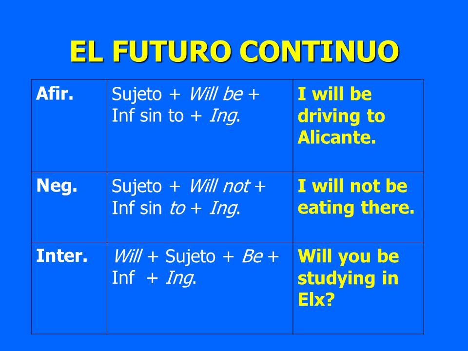 EL FUTURO CONTINUO Afir.Sujeto + Will be + Inf sin to + Ing. I will be driving to Alicante. Neg.Sujeto + Will not + Inf sin to + Ing. I will not be ea