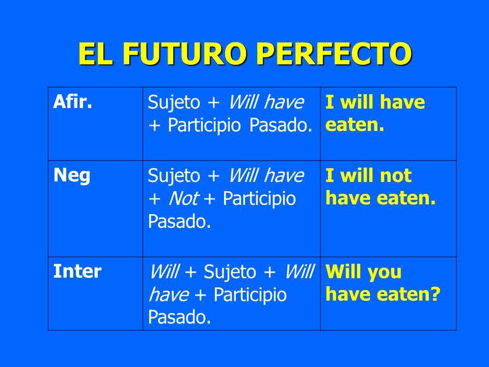 EL FUTURO PERFECTO Afir.Sujeto + Will have + Participio Pasado. I will have eaten. NegSujeto + Will have + Not + Participio Pasado. I will not have ea