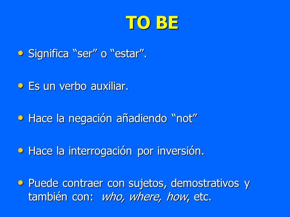 Significa ser o estar. Significa ser o estar. Es un verbo auxiliar. Es un verbo auxiliar. Hace la negación añadiendo not Hace la negación añadiendo no