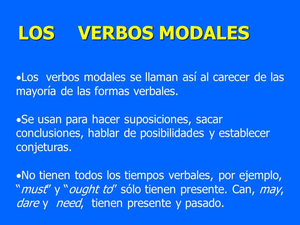 Los verbos modales se llaman así al carecer de las mayoría de las formas verbales. Se usan para hacer suposiciones, sacar conclusiones, hablar de posi
