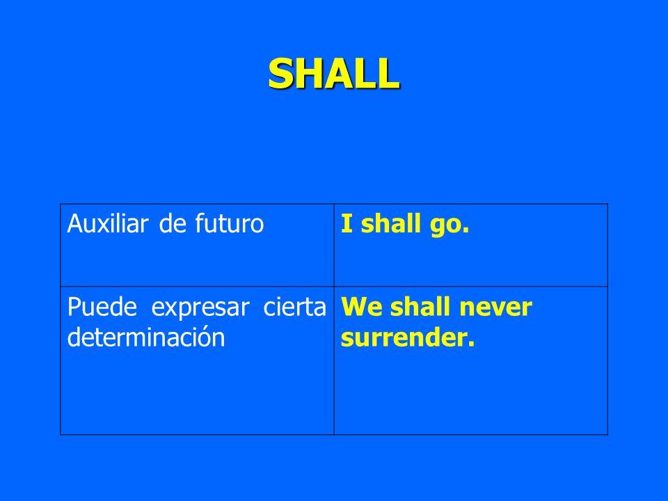 SHALL Auxiliar de futuroI shall go. Puede expresar cierta determinación We shall never surrender.