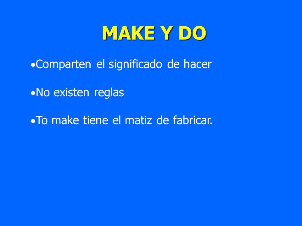 MAKE Y DO MAKE Y DO Comparten el significado de hacer No existen reglas To make tiene el matiz de fabricar.