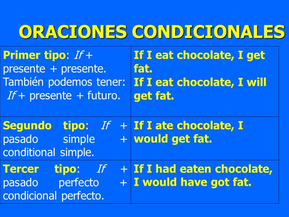 Primer tipo: If + presente + presente. También podemos tener: If + presente + futuro. If I eat chocolate, I get fat. If I eat chocolate, I will get fa