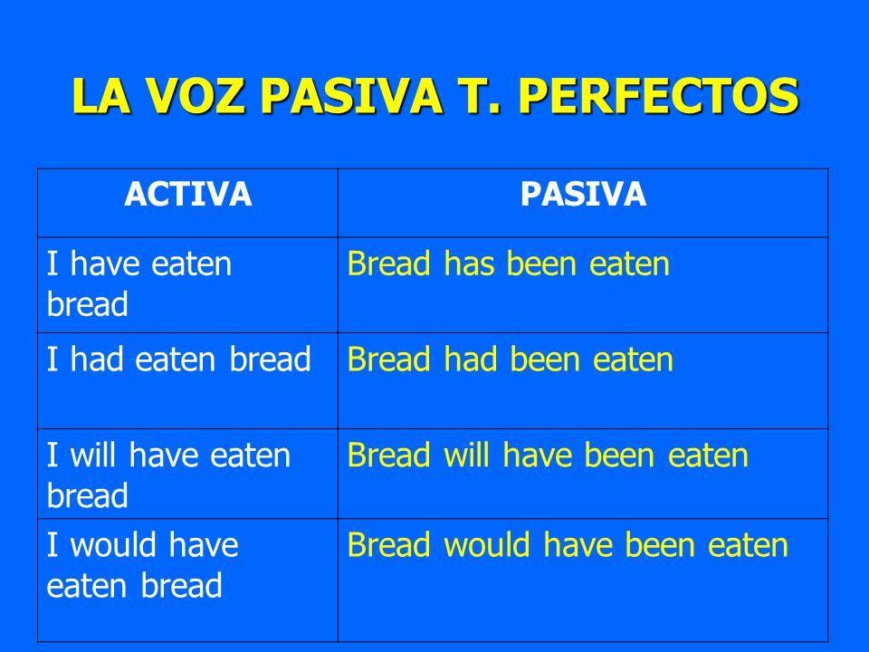 LA VOZ PASIVA T. PERFECTOS ACTIVAPASIVA I have eaten bread Bread has been eaten I had eaten breadBread had been eaten I will have eaten bread Bread wi