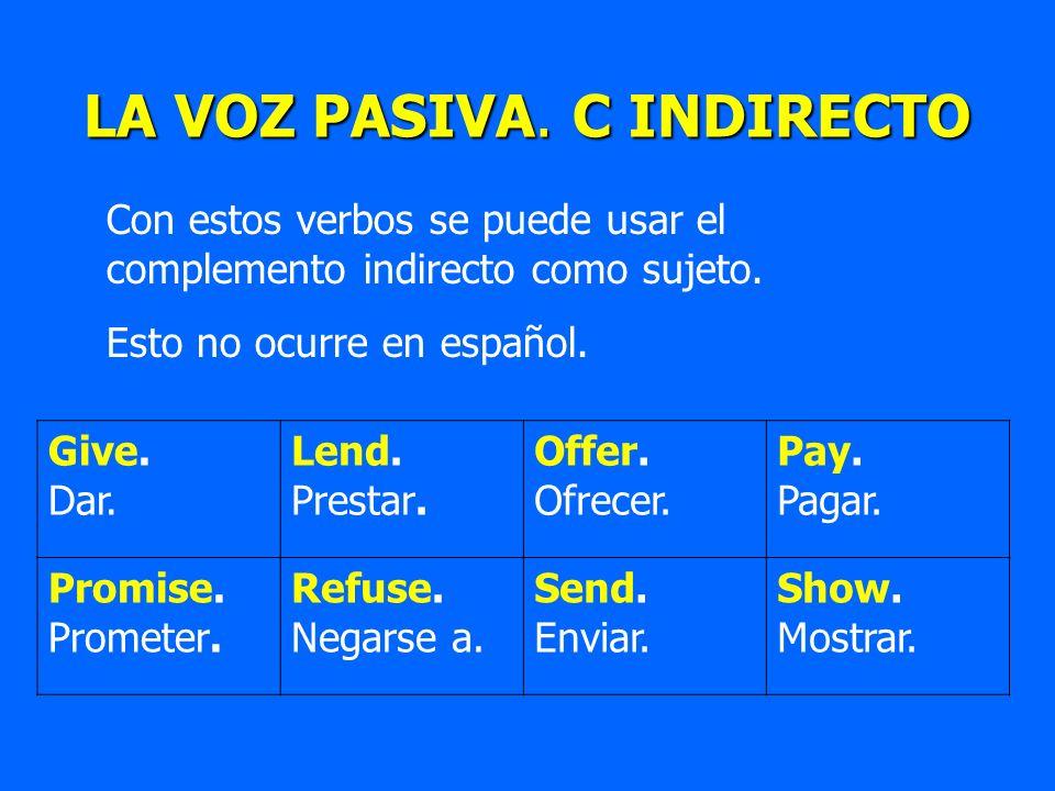 Con estos verbos se puede usar el complemento indirecto como sujeto. Esto no ocurre en español. LA VOZ PASIVA. C INDIRECTO Give. Dar. Lend. Prestar. O