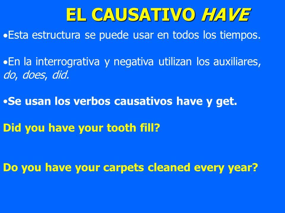 Esta estructura se puede usar en todos los tiempos. En la interrogrativa y negativa utilizan los auxiliares, do, does, did. Se usan los verbos causati