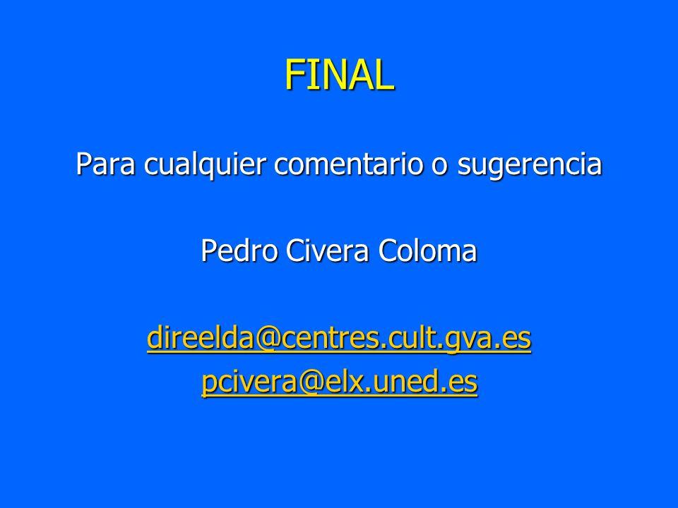 FINAL Para cualquier comentario o sugerencia Pedro Civera Coloma direelda@centres.cult.gva.es pcivera@elx.uned.es
