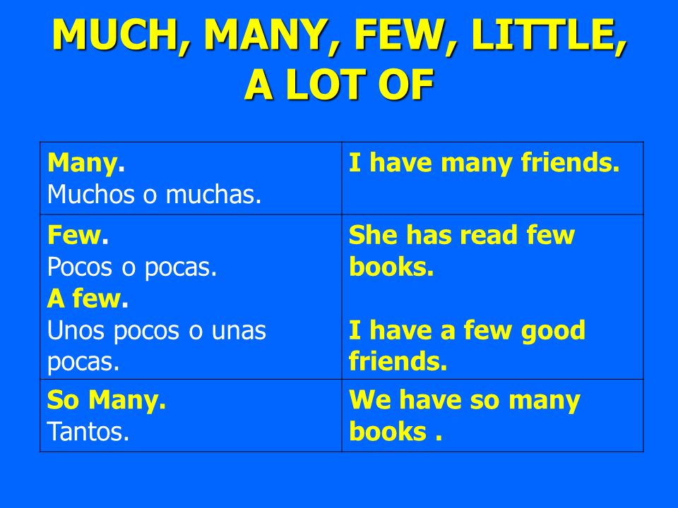 MUCH, MANY, FEW, LITTLE, A LOT OF Many. Muchos o muchas. I have many friends. Few. Pocos o pocas. A few. Unos pocos o unas pocas. She has read few boo