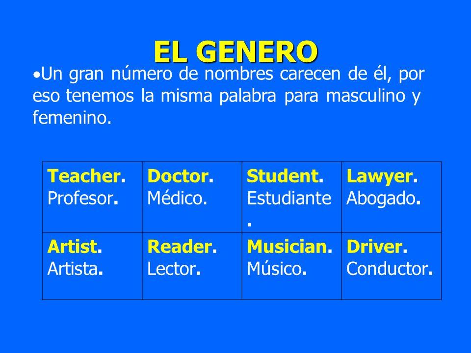 EL GENERO Un gran número de nombres carecen de él, por eso tenemos la misma palabra para masculino y femenino. Teacher. Profesor. Doctor. Médico. Stud