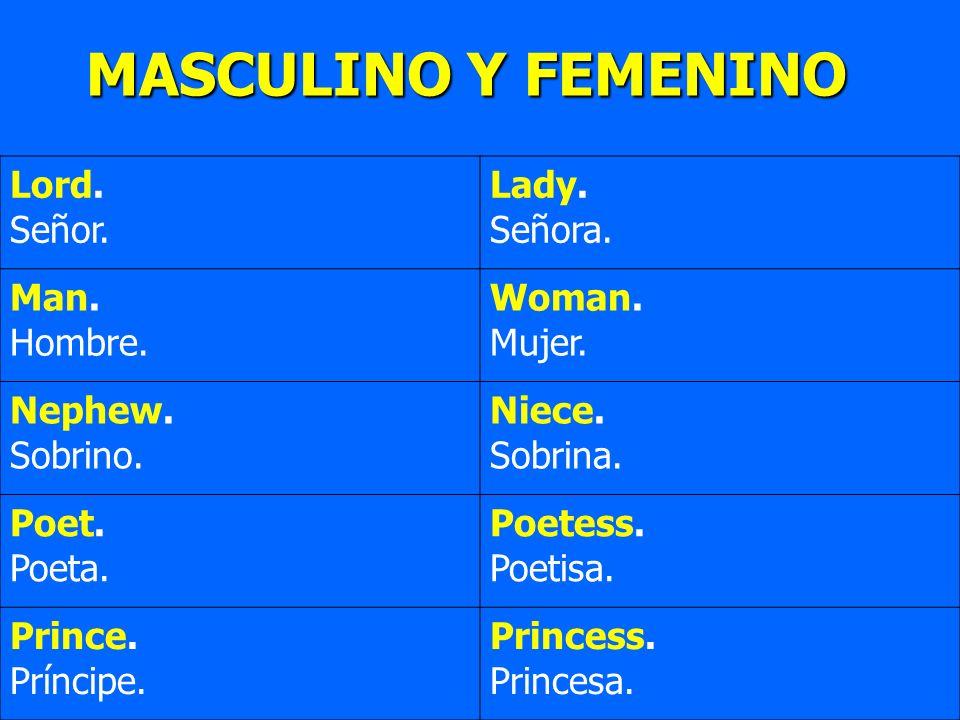Lord. Señor. Lady. Señora. Man. Hombre. Woman. Mujer. Nephew. Sobrino. Niece. Sobrina. Poet. Poeta. Poetess. Poetisa. Prince. Príncipe. Princess. Prin