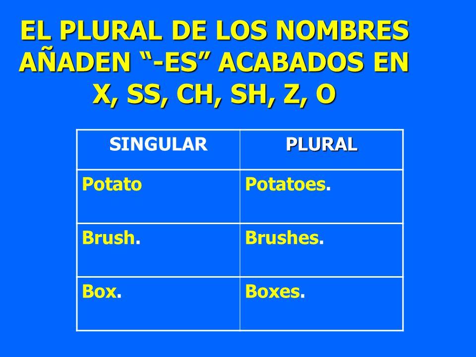 SINGULARPLURAL PotatoPotatoes. Brush.Brushes. Box.Boxes. EL PLURAL DE LOS NOMBRES AÑADEN -ES ACABADOS EN X, SS, CH, SH, Z, O