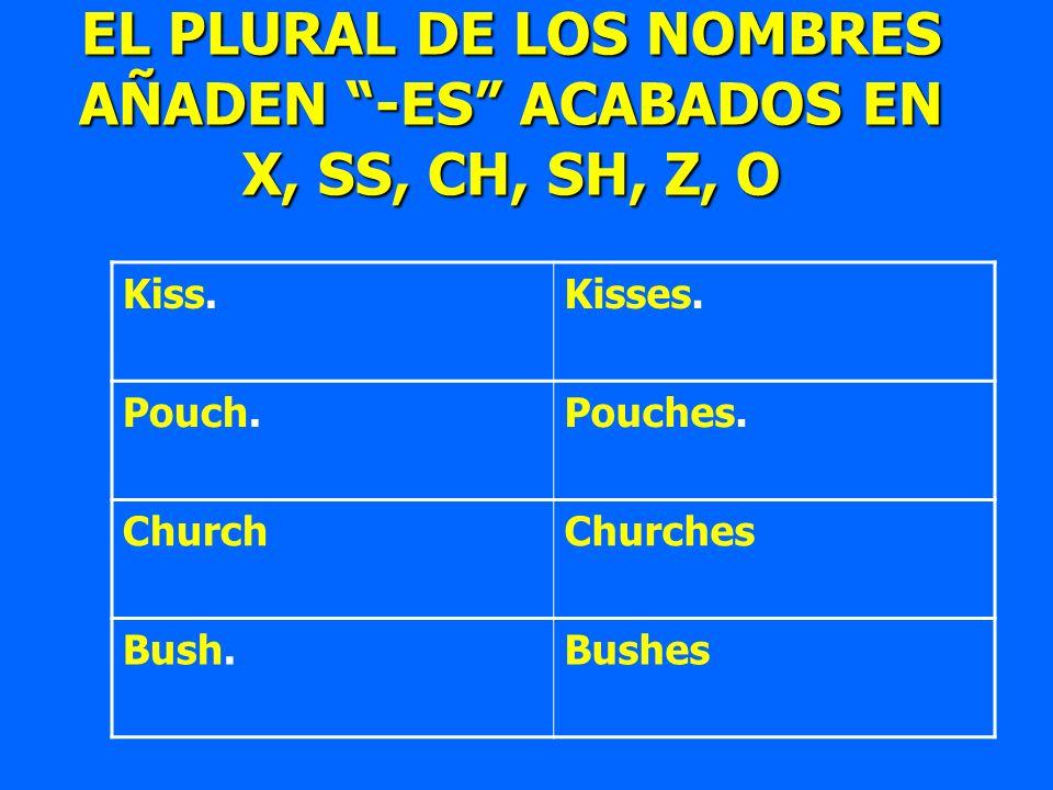 Kiss.Kisses. Pouch.Pouches. ChurchChurches Bush.Bushes EL PLURAL DE LOS NOMBRES AÑADEN -ES ACABADOS EN X, SS, CH, SH, Z, O