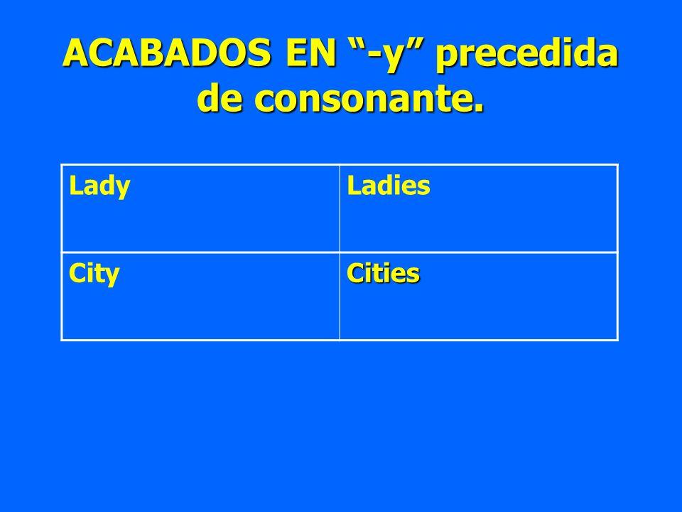 ACABADOS EN -y precedida de consonante. LadyLadies CityCities