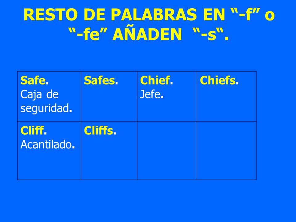 RESTO DE PALABRAS EN -f o -fe AÑADEN -s. Safe. Caja de seguridad. Safes.Chief. Jefe. Chiefs. Cliff. Acantilado. Cliffs.
