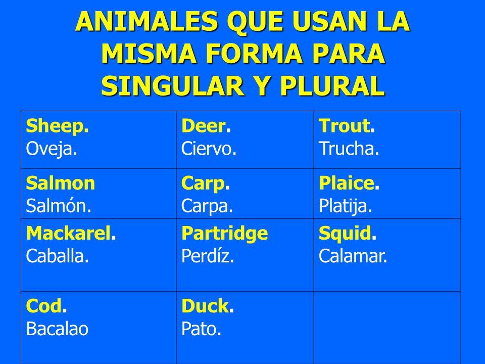 ANIMALES QUE USAN LA MISMA FORMA PARA SINGULAR Y PLURAL Sheep. Oveja. Deer. Ciervo. Trout. Trucha. Salmon Salmón. Carp. Carpa. Plaice. Platija. Mackar