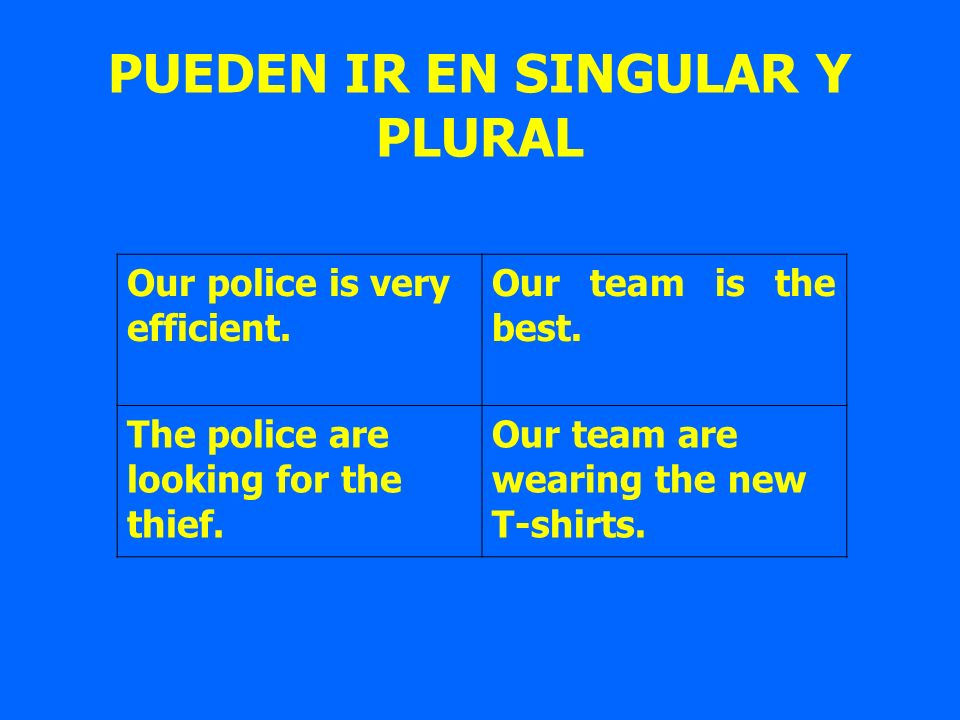PUEDEN IR EN SINGULAR Y PLURAL Our police is very efficient. Our team is the best. The police are looking for the thief. Our team are wearing the new
