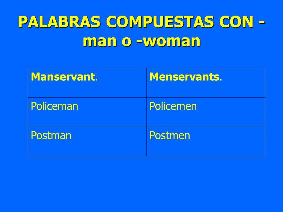 PALABRAS COMPUESTAS CON - man o -woman Manservant.Menservants. PolicemanPolicemen PostmanPostmen