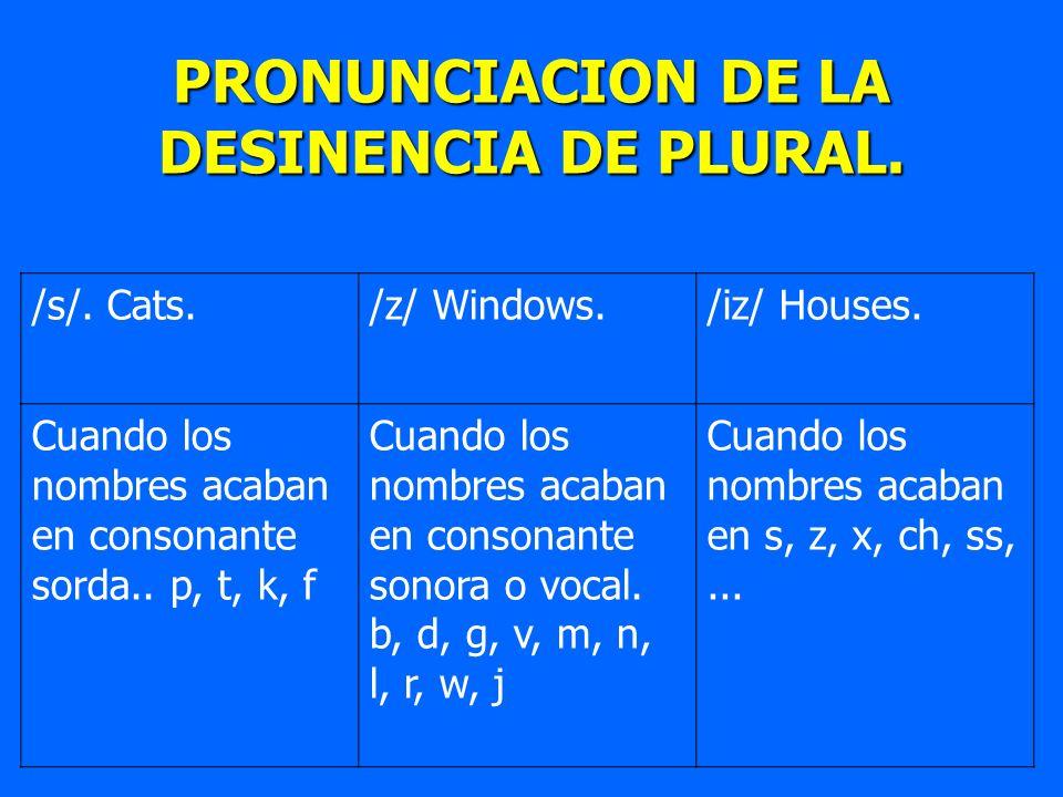 PRONUNCIACION DE LA DESINENCIA DE PLURAL. /s/. Cats./z/ Windows./iz/ Houses. Cuando los nombres acaban en consonante sorda.. p, t, k, f Cuando los nom