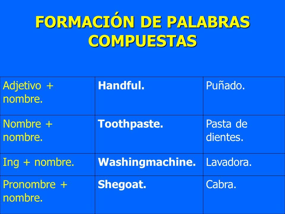 FORMACIÓN DE PALABRAS COMPUESTAS Adjetivo + nombre. Handful.Puñado. Nombre + nombre. Toothpaste.Pasta de dientes. Ing + nombre.Washingmachine.Lavadora