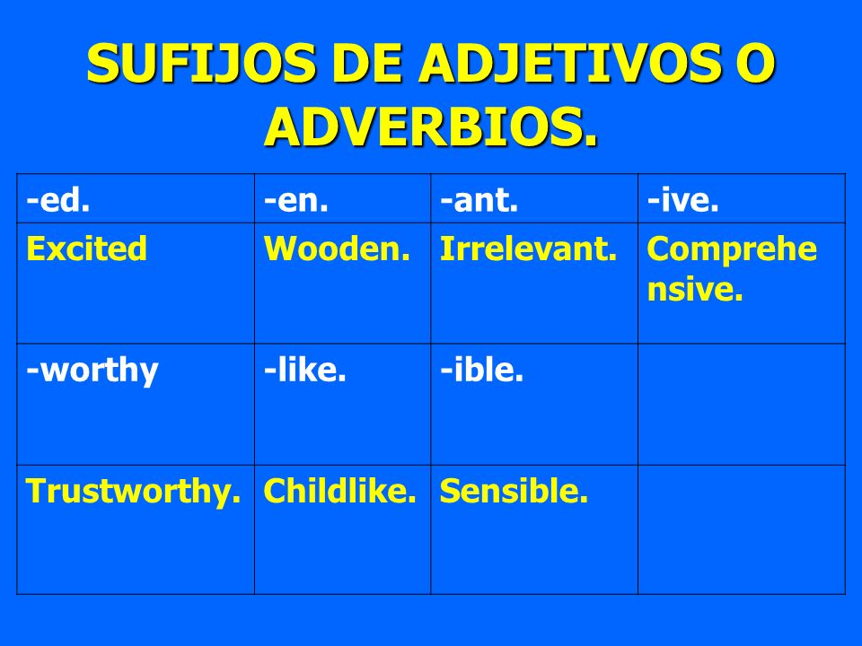 -ed.-en.-ant.-ive. ExcitedWooden.Irrelevant.Comprehe nsive. -worthy-like.-ible. Trustworthy.Childlike.Sensible. SUFIJOS DE ADJETIVOS O ADVERBIOS.
