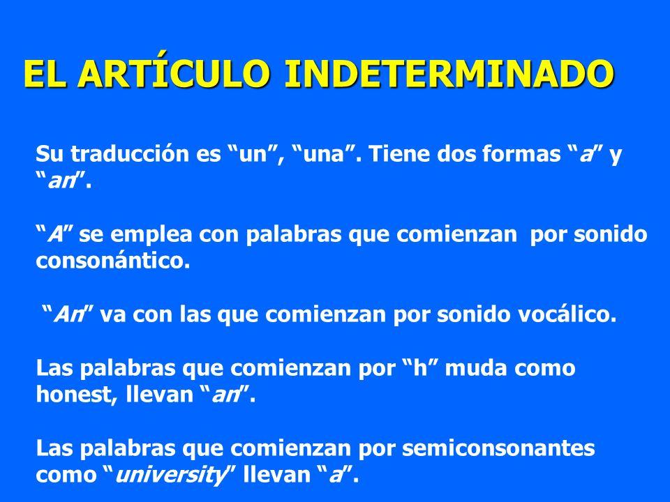 EL ARTÍCULO INDETERMINADO Su traducción es un, una. Tiene dos formas a yan. A se emplea con palabras que comienzan por sonido consonántico. An va con
