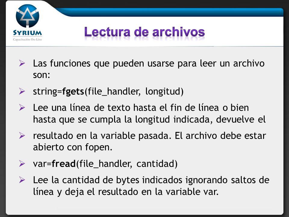 $buffer = fread($fp,1024); Lee 1K del archivo cuyo handler es $fp