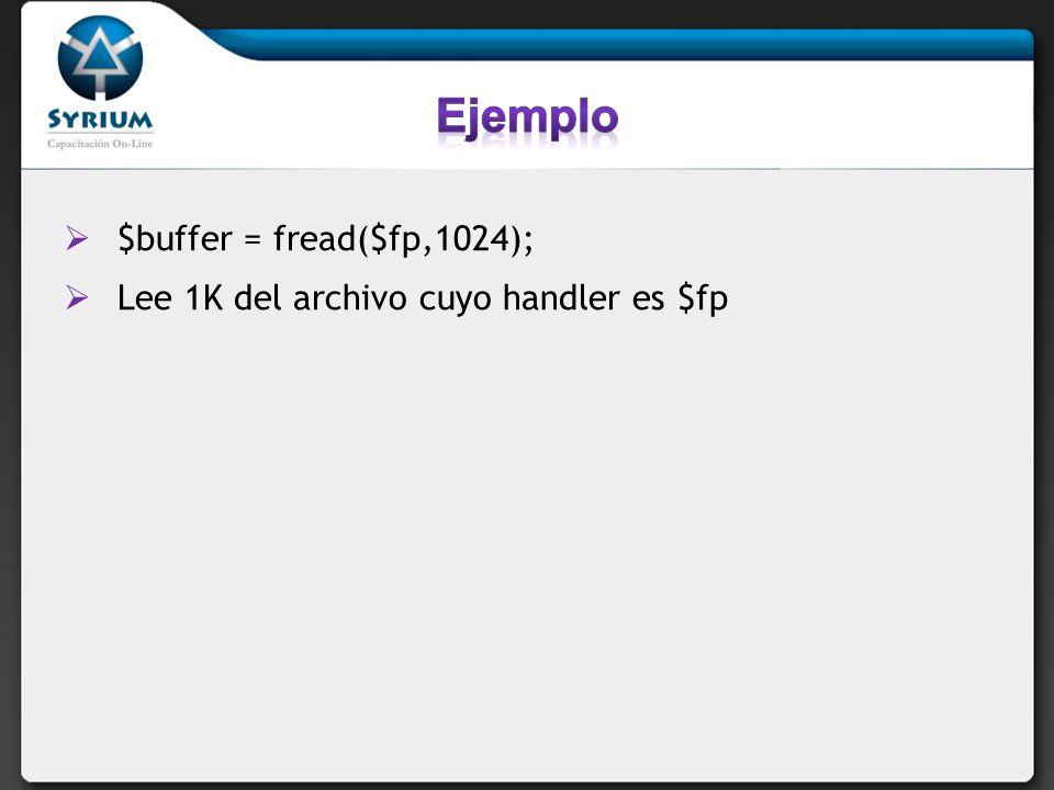fwrite(file_handler, variable, longitud); Escribe la variable al archivo indicado por file_handler.