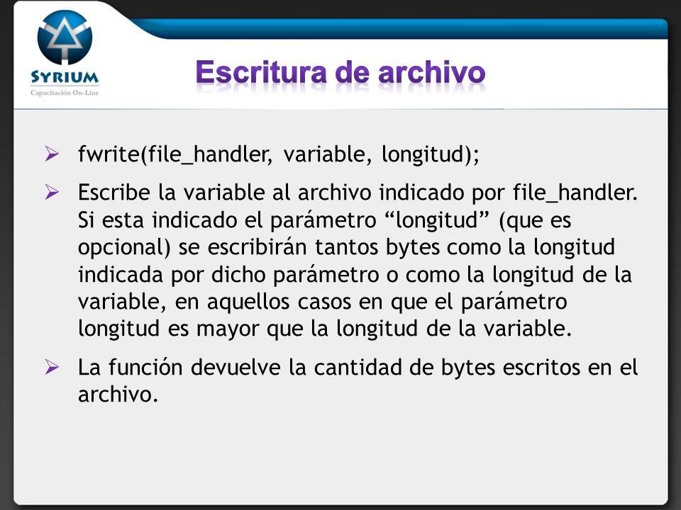 $archivo = miarchivo.txt; $id = fopen($archivo, w+ ); $cadena = Aquí lo que queremos escribir; fwrite($id, $cadena); fclose($id);