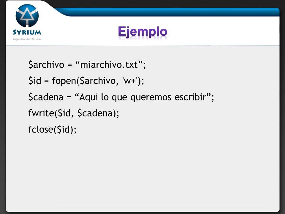 Cierre de archivos fclose(file_handler) Cierra un archivo abierto con fopen.