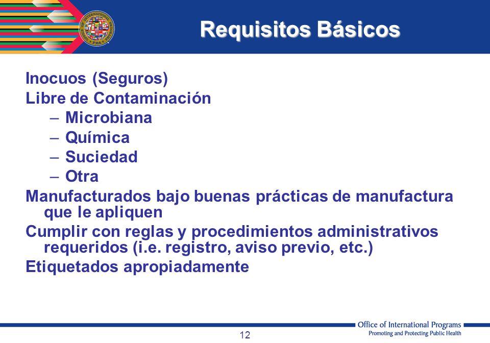 12 Inocuos (Seguros) Libre de Contaminación –Microbiana –Química –Suciedad –Otra Manufacturados bajo buenas prácticas de manufactura que le apliquen C