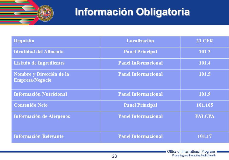 23 Información Obligatoria RequisitoLocalización21 CFR Identidad del AlimentoPanel Principal101.3 Listado de IngredientesPanel Informacional101.4 Nomb