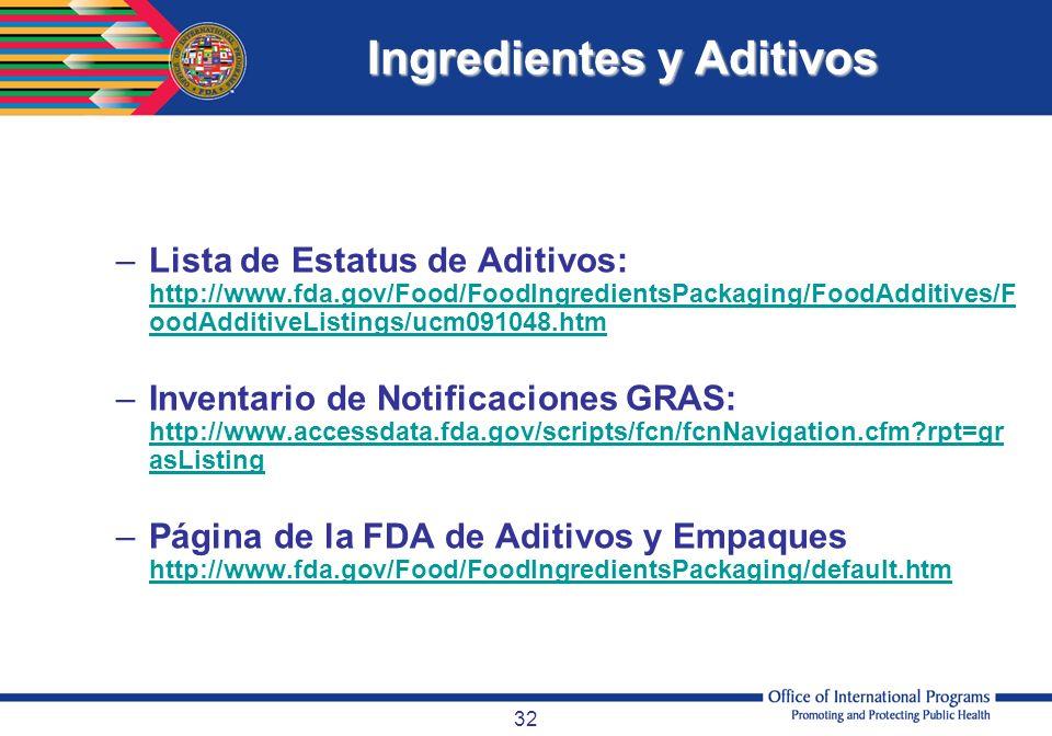 32 Otras Referencias –Lista de Estatus de Aditivos: http://www.fda.gov/Food/FoodIngredientsPackaging/FoodAdditives/F oodAdditiveListings/ucm091048.htm