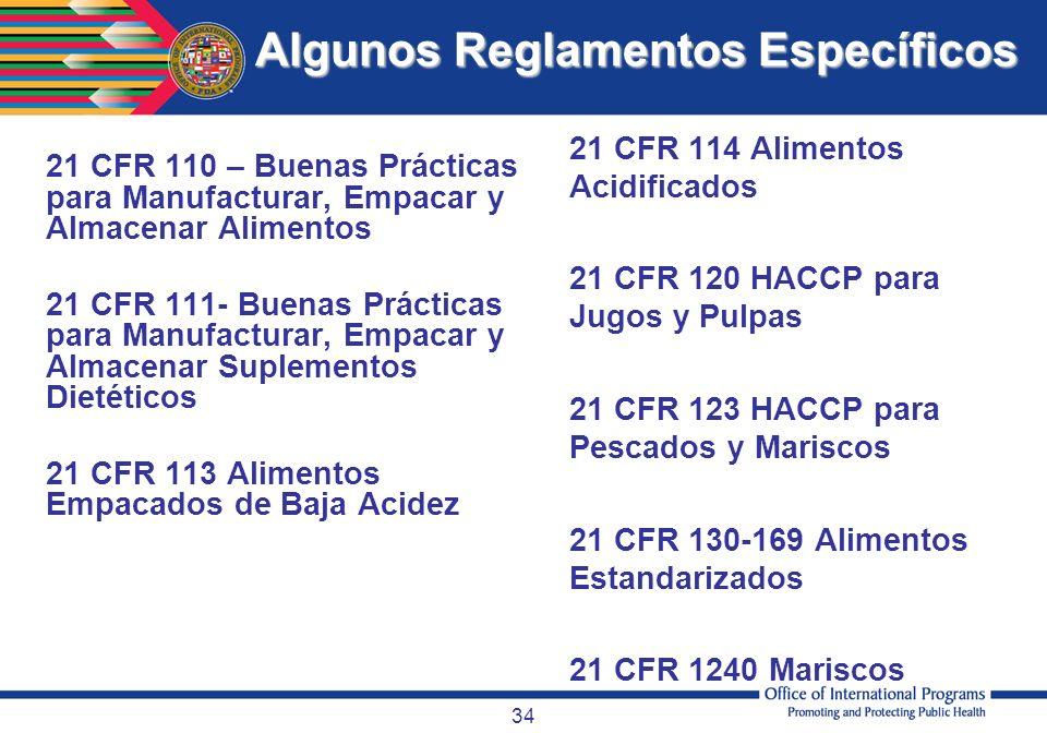 34 Algunos Reglamentos Específicos 21 CFR 110 – Buenas Prácticas para Manufacturar, Empacar y Almacenar Alimentos 21 CFR 111- Buenas Prácticas para Ma