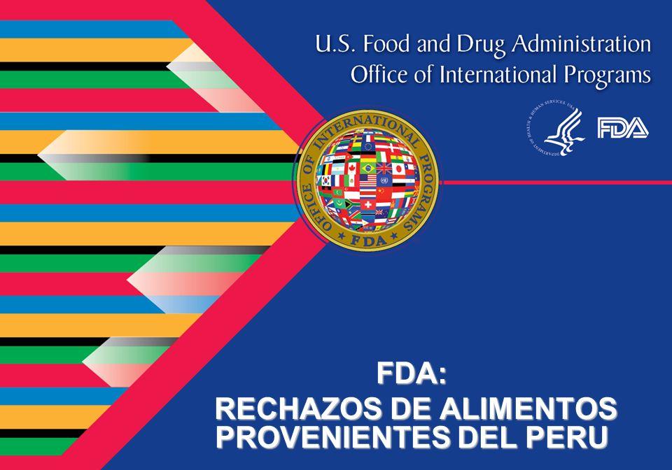 FDA: RECHAZOS DE ALIMENTOS PROVENIENTES DEL PERU RECHAZOS DE ALIMENTOS PROVENIENTES DEL PERU